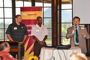 Mayor Evans Addresses the Guests Along with Ray Anderson, ASU Athletic Director and Jean Boyd, ASU Associate Ahtletic Director